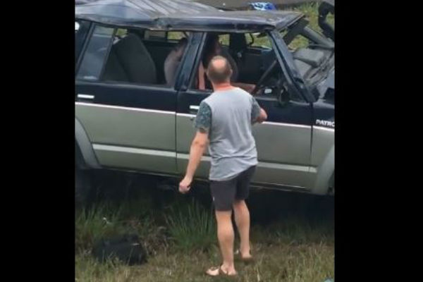 Article image for WATCH: Driver yells at crash witnesses