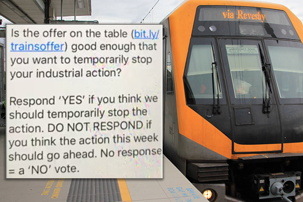 Article image for Union manipulating train drivers to vote FOR strike action