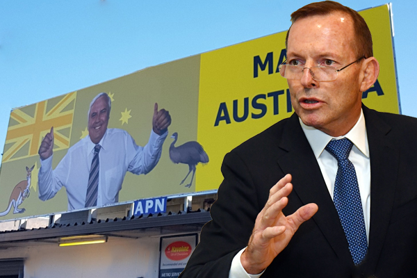Article image for 'The last thing we need are more spivs': Tony Abbott takes a sledgehammer to Clive Palmer & Brian Burston