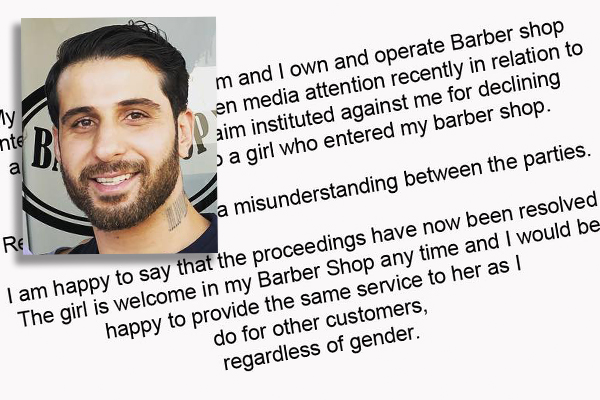 Article image for Barber forced to cut women's hair after being dragged through discrimination case