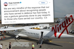 Virgin Australia backing down from 'cheesy' decision to honour veterans