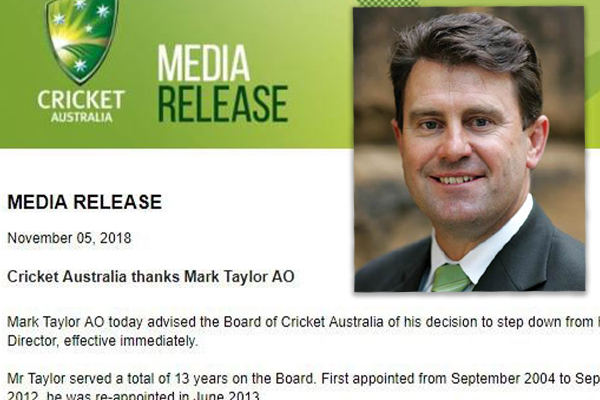 Article image for Mark Taylor explains why he resigned from Cricket Australia's board
