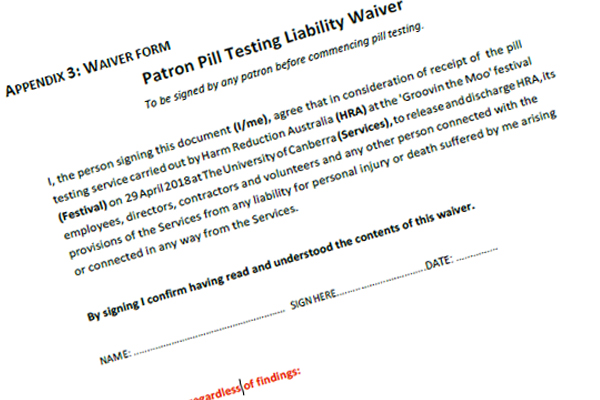 Article image for Festival goers made to sign ridiculous pill testing waiver form