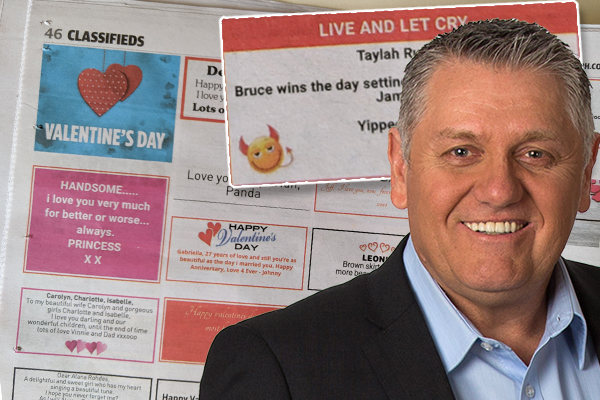Article image for Ray Hadley's producer receives not-so-cryptic Valentine's Day message in the classifieds