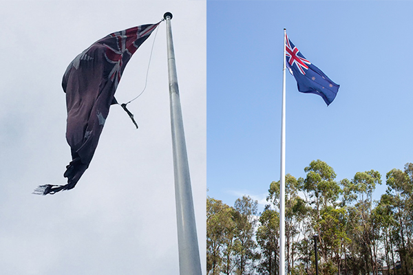 Article image for UPDATE | Mayor replaces tattered Australian flag