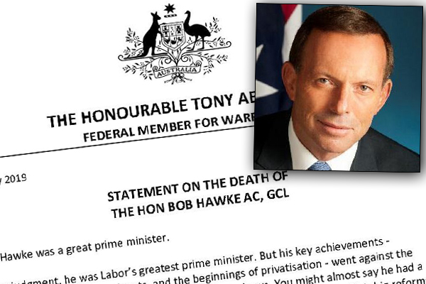 Article image for Tony Abbott defends statement about Bob Hawke's death