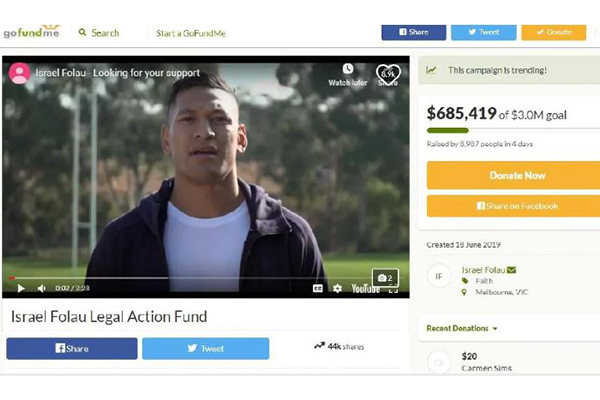 Article image for 'PC gone mad': Senator calls out GoFundMe after Israel Folau's campaign shut down