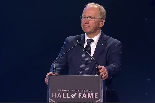 Article image for WATCH | Peter Beattie's latest stuff up at the NRL Hall of Fame ceremony