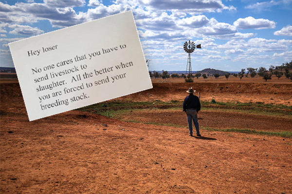 Article image for Drought-stricken farmers receive disgusting letters of abuse