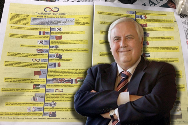Article image for Clive Palmer advertises 'irrational' coronavirus treatment