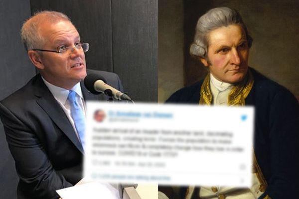 Article image for Scott Morrison takes a swipe at health official comparing coronavirus to Captain Cook