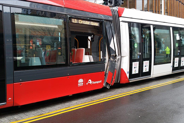Article image for Tram window implodes in Sydney collision