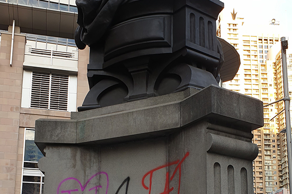 Article image for Queen Victoria statue vandalised outside Sydney's QVB