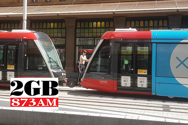 Article image for WATCH | Man caught riding outside of Sydney light rail