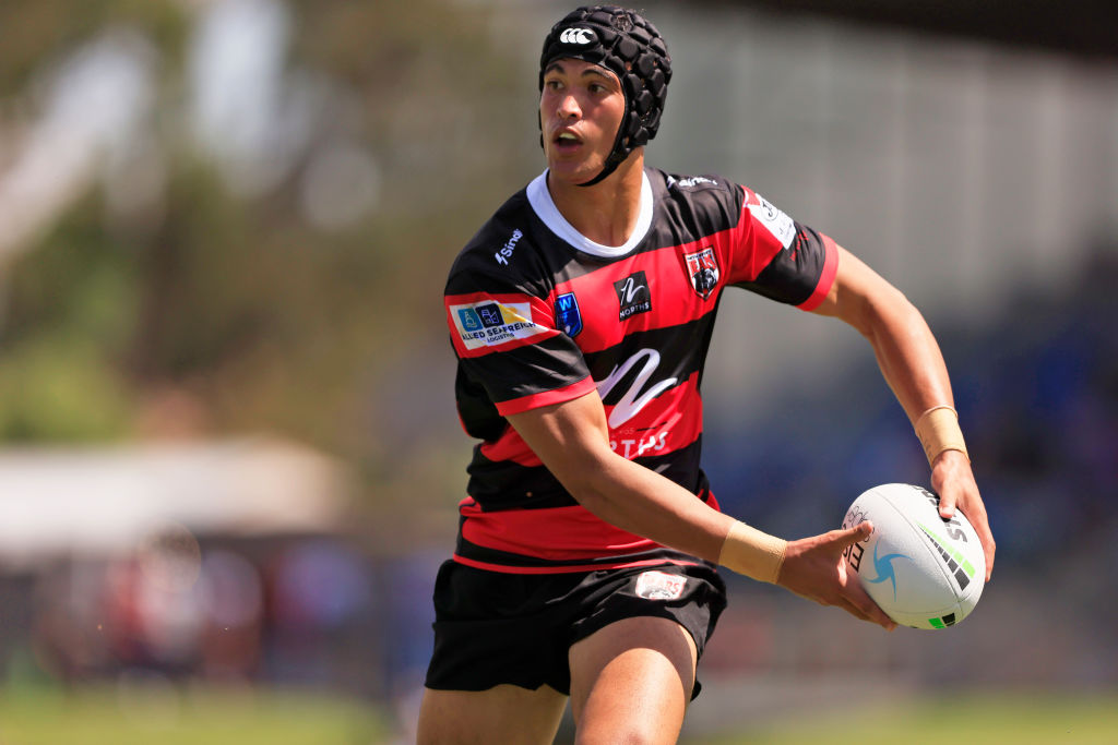 oseph Suaalii of the Bears runs the ball during the NSW Cup Trial Match between the North Sydney Bears and the Canberra Raiders at Seiffert Oval