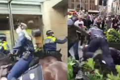 WATCH | 'Freedom' protesters assault police, hurl projectiles