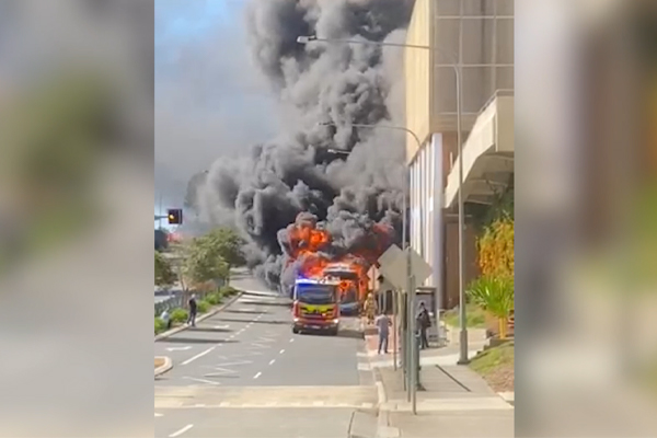 Article image for WATCH   Bus explodes into flames at Campbelltown shopping centre